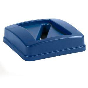 Carlisle Centurian 23 Gal. Blue Square Trash Can Paper Recycling Lid (4-Pack) by Carlisle