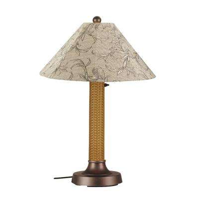 Bahama Weave 34 in. Mocha Cream Outdoor Table Lamp with Bessemer Shade