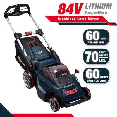 Red and Black 19 in. 84-Volt Lithium-ion Battery Brush-less Motor Walk-Behind Self-Propelled Lawn Mower Set