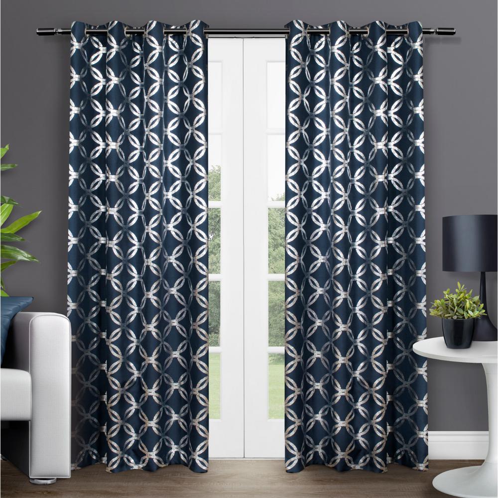 Trend Shake 40 Indigo Home Décor Ideas: Modo Indigo Metallic Geometric Grommet Top Window Curtain