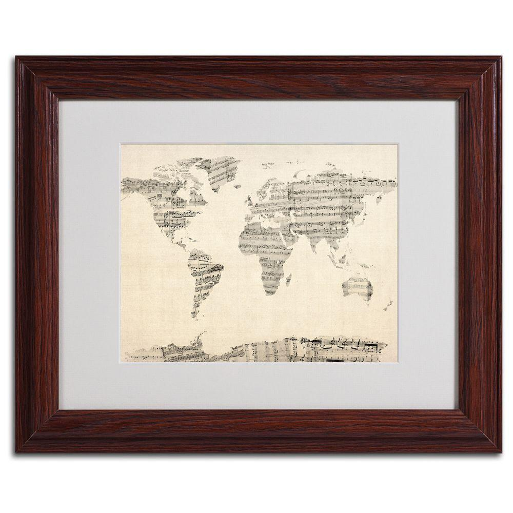 11 in. x 14 in. Old Sheet Music World Map Matted