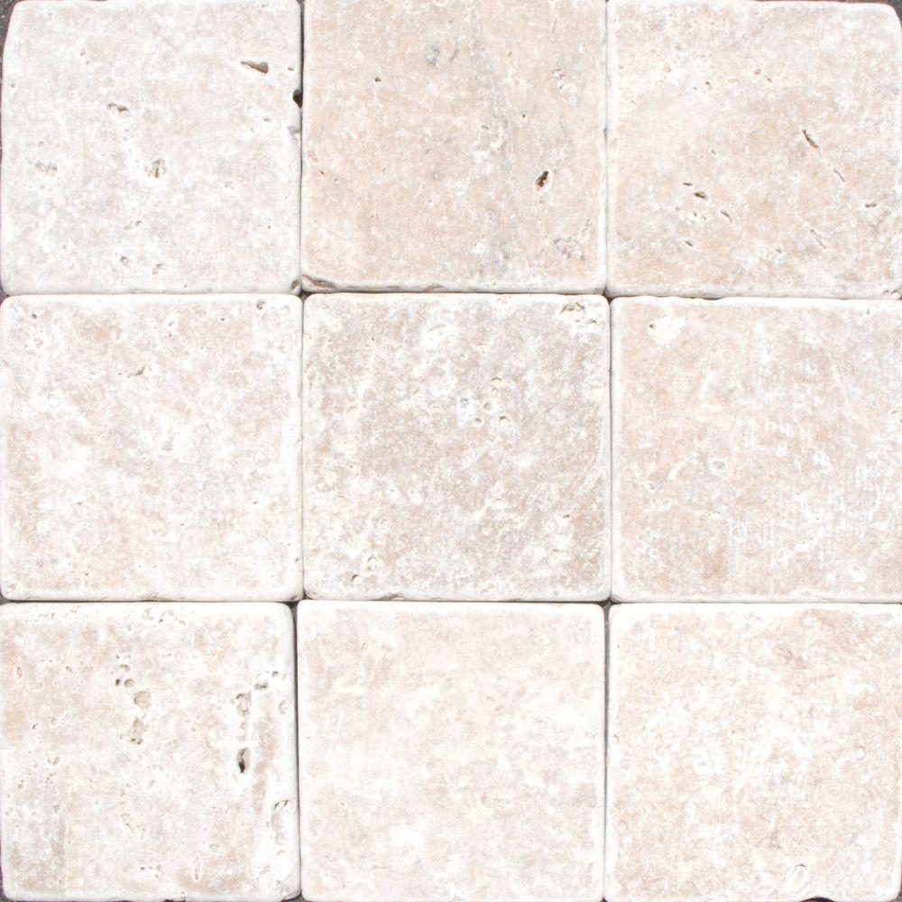 MSI Noche 4 in x 4 in Tumbled Travertine Floor and Wall Tile 1 sq
