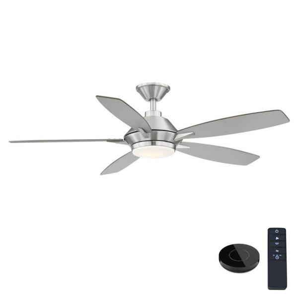 Wilmington 52 in. LED Brushed Nickel Ceiling Fan with Light and Remote Control works with Google and Alexa