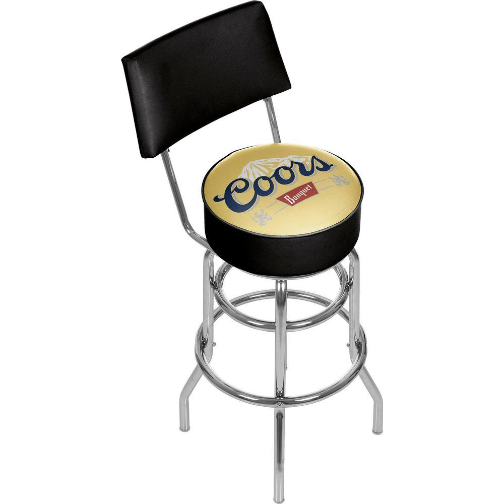 30 stools with back. Trademark Coors Banquet 30 In Chrome Swivel Cushioned Bar Stool Stools With Back