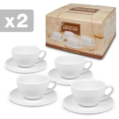 Konitz 8-Piece White Coffee Bar #4 Porcelain Cappuccino Cup and Saucer Sets Gift Boxed
