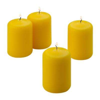 3 in. H x 2 in. W Yellow Citronella Scented Pillar Candles (Set of 4)