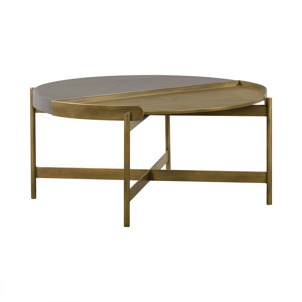 Dua 16 in. H Grey Antique Brass Concrete Coffee Table