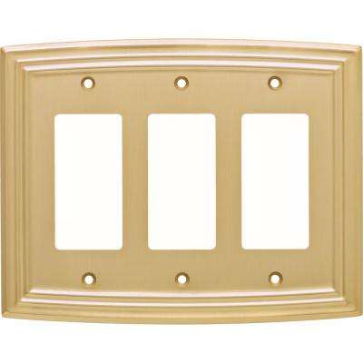 Emery Classical Triple Decorator Wall Plate, Brushed Brass
