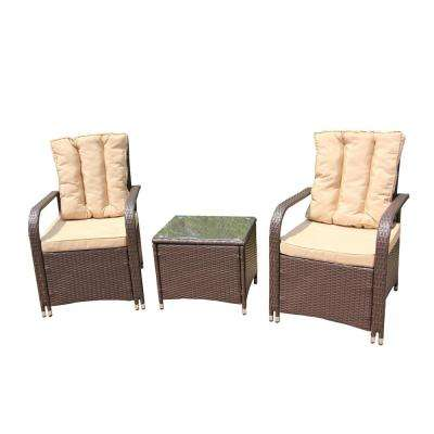 Brown 3-Piece Wicker Rattan Patio Conversation Set with Cream Cushions