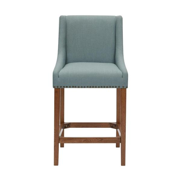 Blakewood Haze Oak Finish Upholstered Counter Stool with Back and Aloe Green Seat (20.47 in. W x 40.35 in. H)