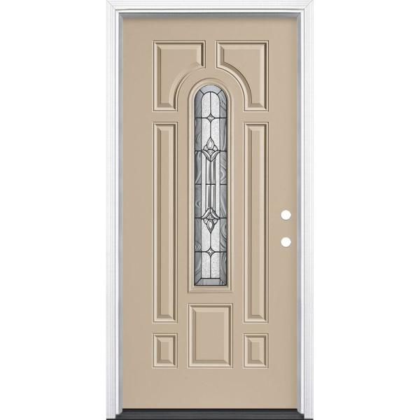 36 in. x 80 in. Providence Center Arch Canyon View Left Hand Inswing Painted Steel Prehung Front Door with Brickmold