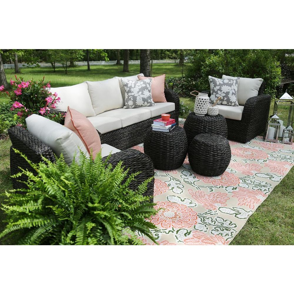 AE Outdoor Sanford 6-Piece All-Weather Wicker Patio Deep Seating Set with Sunbrella Beige Cushions