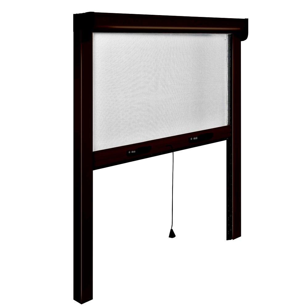 39 in. x 67 in. Adjustable Width/Height Bronze Aluminum Vertically Retractable