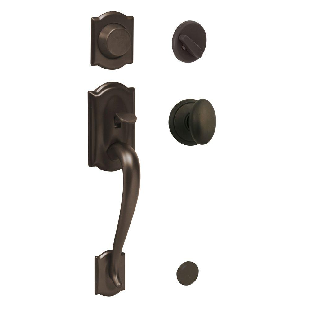 Schlage Camelot In-Active Oil Rubbed Bronze Handleset with Siena ...