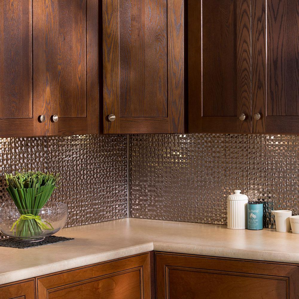 Decorative Wall Tiles Kitchen Backsplash: Fasade Terrain 18 In. X 24 In. Brushed Nickel Vinyl