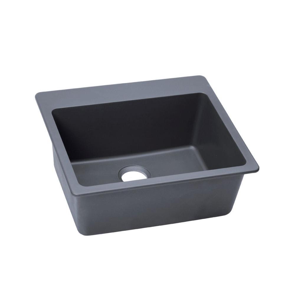 Quartz Classic Drop-In Composite 25 in. Single Bowl Kitchen Sink in Dusk Gray