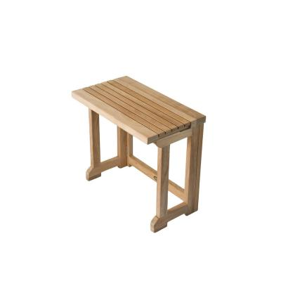 20 in. W Folding Bathroom Shower Seat with Gate Leg in Natural Teak