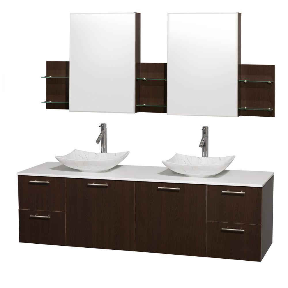 Wyndham Collection Amare 72 in. Double Vanity in Espresso with Solid-Surface Vanity Top in White, Marble Sinks and Medicine Cabinet