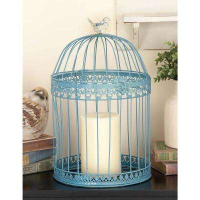 Large: 16 in., Small: 12 in. New Traditional Blue Iron Standing Birdcages