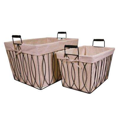 16 in. x 10 in. Rectangular Ayan Metal Basket with Liner
