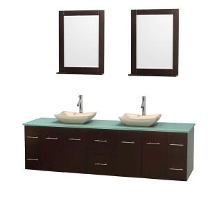Wyndham Collection Centra 80 inch Double Vanity in Espresso with Glass Vanity Top in Green, Ivory Marble Sinks and 24... by Wyndham Collection