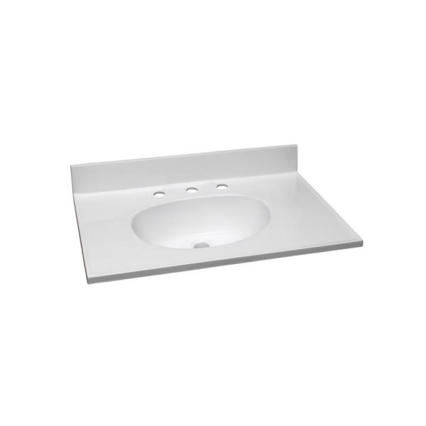 31 in. W x 22 in. D Cultured Marble Vanity Top in Solid White with Solid White Basin and 8 in. Faucet Spread