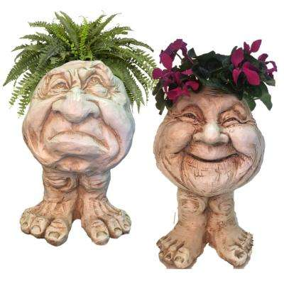 Antique White Grumpy and Granny Joy the Muggly Face Statue Planter Holds 5 in. Pot (2-Pack)