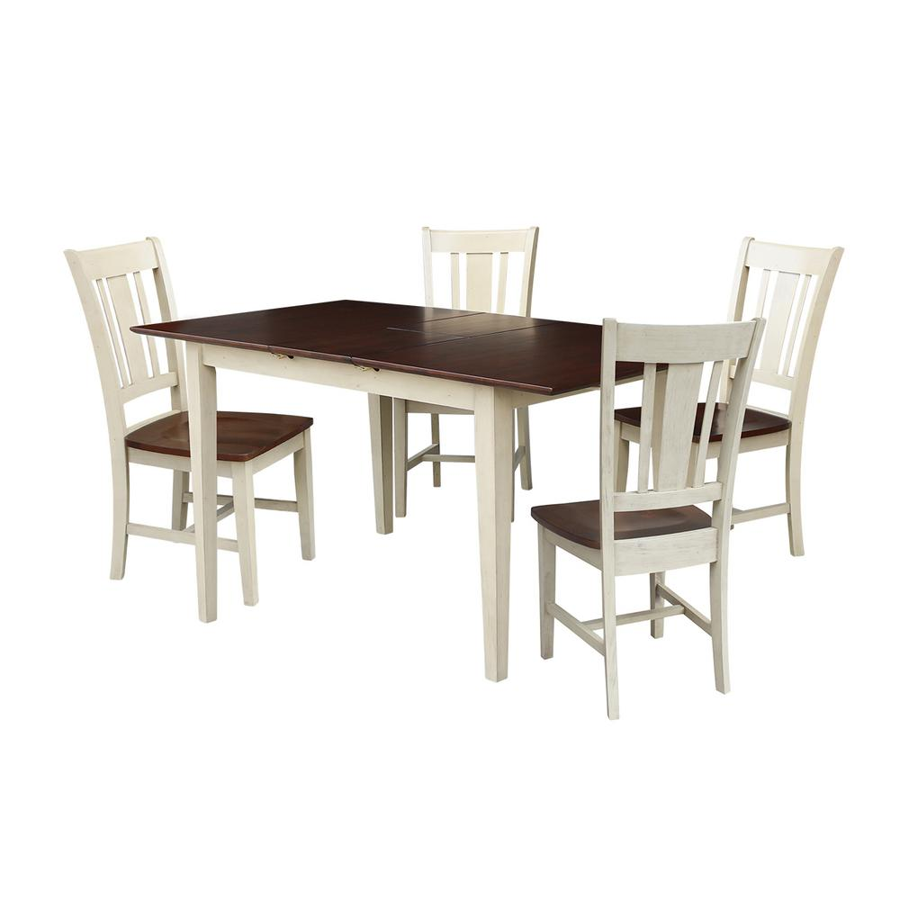 International Concepts Leah 5 Piece Almond And Espresso Dining Set With Butterfly