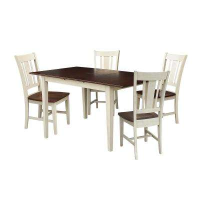Leah 5 Piece Almond And Espresso Dining Set With Butterfly Extentsion And  San Remo Chairs