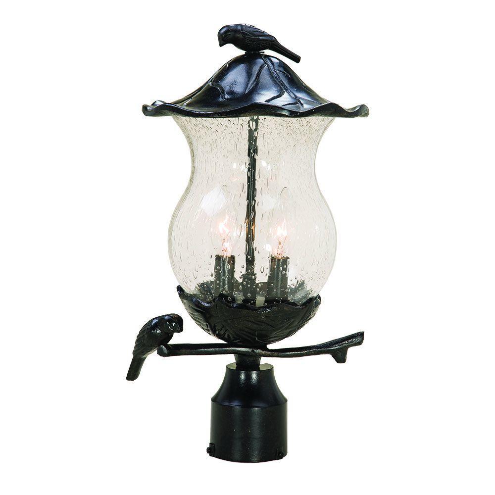 Acclaim Lighting Avian 2-Light Black Gold Outdoor Post Mount Light Fixture