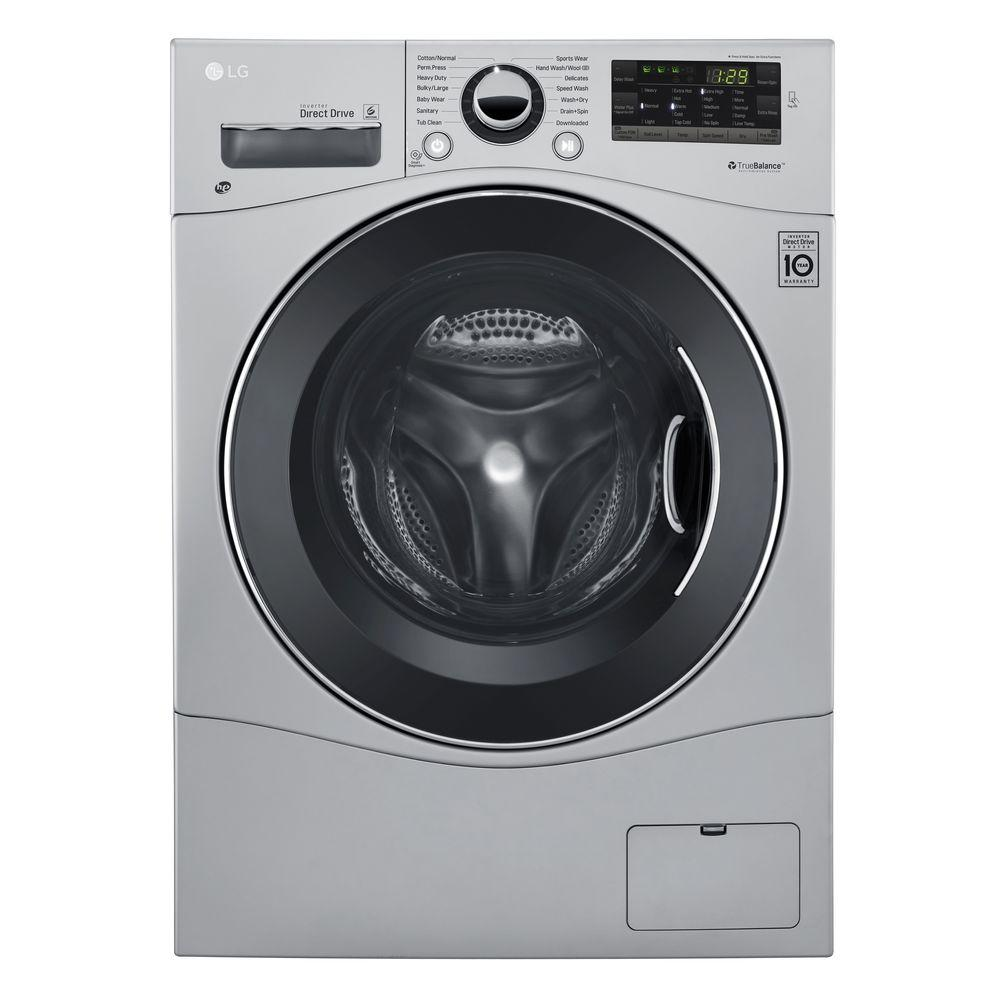 LG Electronics 2.3 cu. ft. All-in-One Front Load Washer and Electric Ventless Dryer in Silver, Stainless Look LG's 24 in. all-in-one washer and dryer combo does it all in just one machine. It's great for those who want to be able to do laundry at home but do not have an external venting source which conventional dryers require. Perfect for homes, apartments, businesses and vacation homes where space is valuable. Color: Stainless Look.