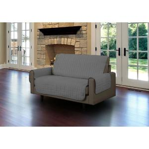 Grey Microfiber Loveseat Pet Protector Slipcover with Tucks and Strap by
