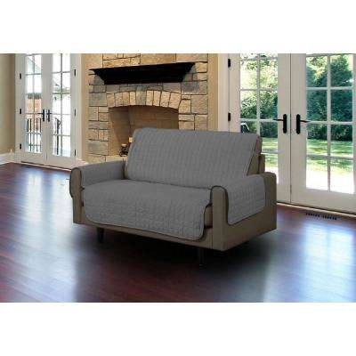 Grey Microfiber Loveseat Pet Protector Slipcover With Tucks And Strap
