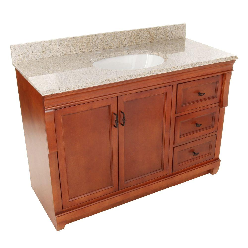 Home Decorators Collection Naples 49 in. W x 22 in. D Bath Vanity with Right Drawers in Warm Cinnamon with Granite Vanity Top in Beige