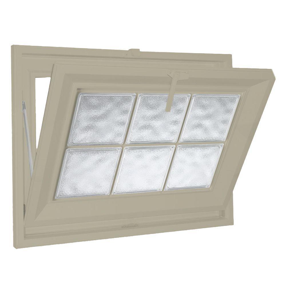 Hy-Lite 39 in. x 15 in. Acrylic Block Hopper Vinyl Window