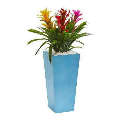 26 in. High Triple Purple Bromeliad Artificial Plant in Turquoise Tower Vase