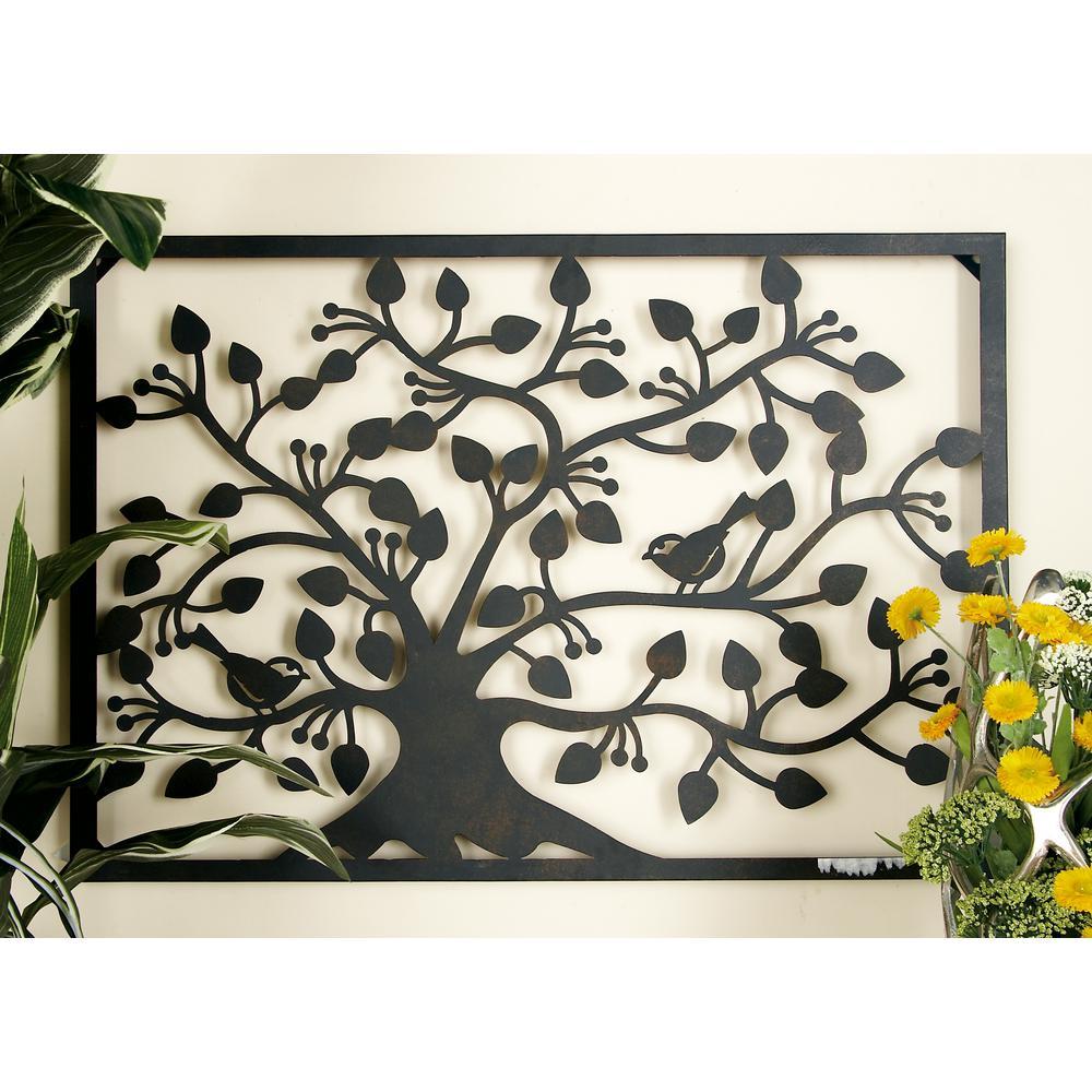 Iron Black Tree Silhouette Horizontal Wall Plaque
