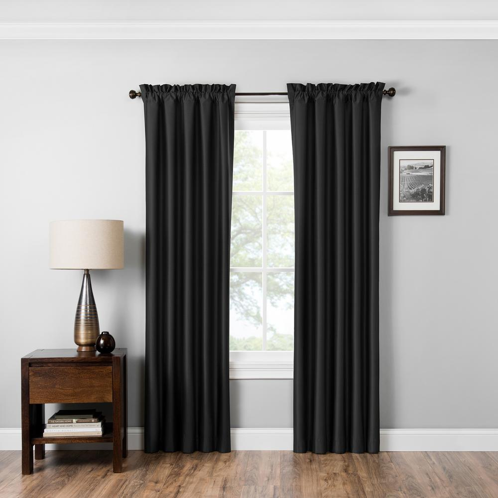Eclipse Blackout Miles 95 in. L Black Rod Pocket Curtain