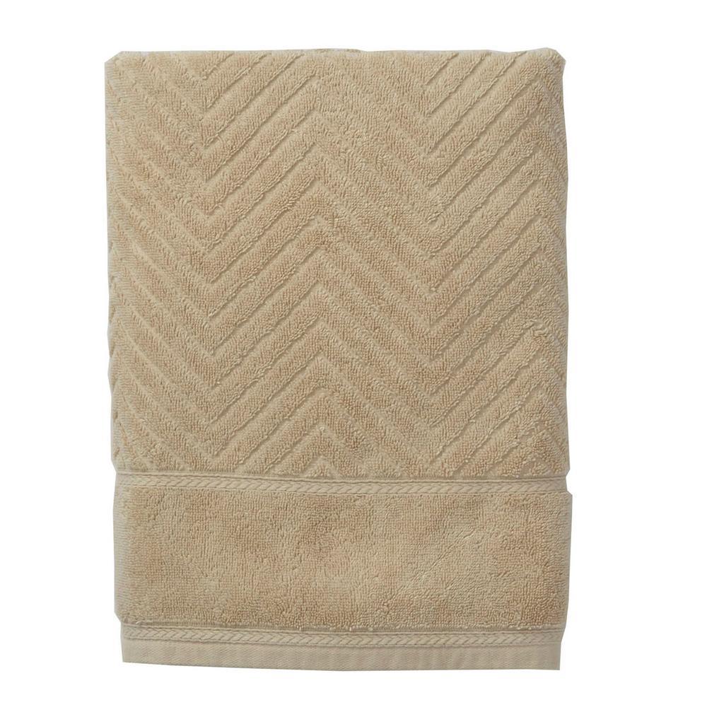The Company Store Chevron Egyptian Cotton Single Bath Sheet in Linen