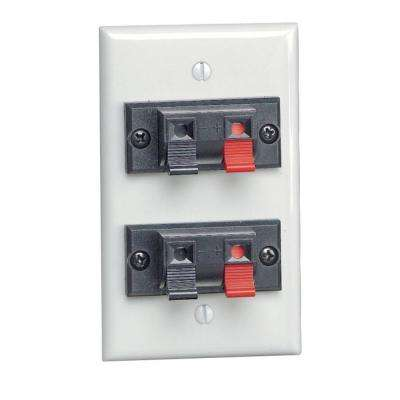 Double Spring Clip Audio/Video Standard Wallplate, White