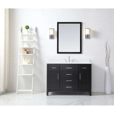 OVE Tahoe 48 in. W x 21 in. D Vanity in Espresso with Quartz Vanity Top in White with White Basin and Mirror