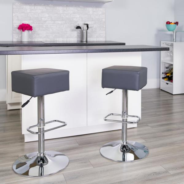 Flash Furniture Adjustable Height Gray Cushioned Bar Stool CH820584GY