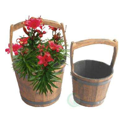 8.8 In. W X 8.8 In. D X 7 In. H Wood Pail