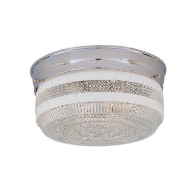 2-Light Chrome Flushmount with Clear Textured Shade