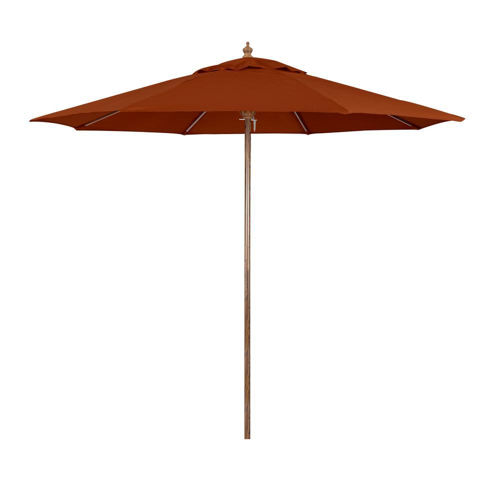 Sunline 9 ft. Wood-Grain Steel Push Lift Market Patio Umbrella in Polyester Brick Fabric