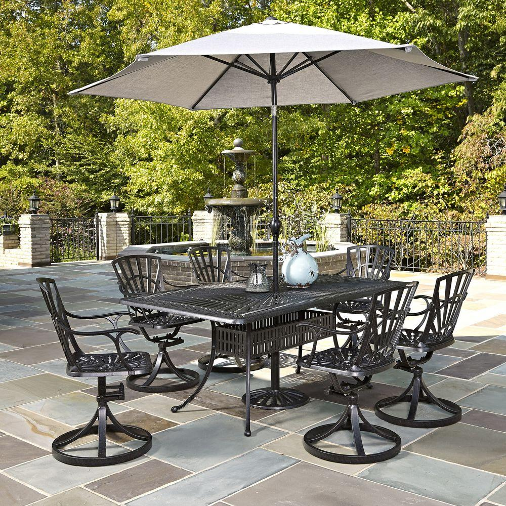 Largo 7-Piece Outdoor Patio Dining Set with Umbrella