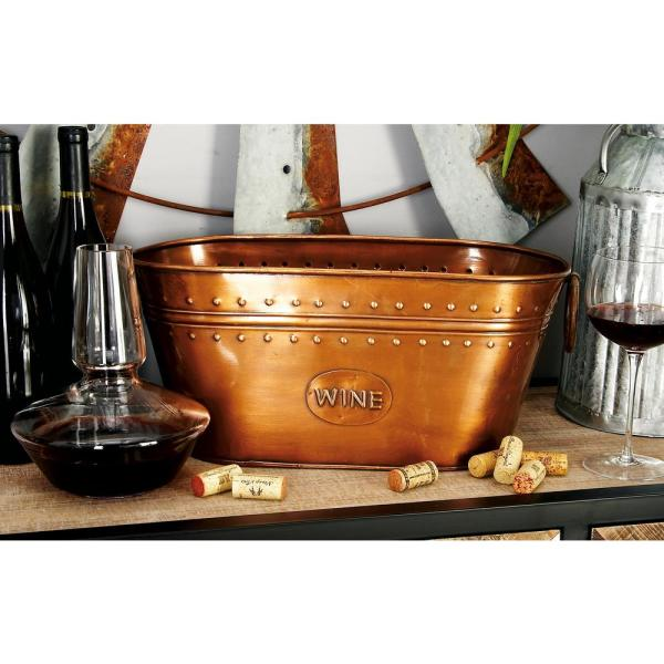 Litton Lane 17 in. x 8 in. Oval Bucket Wine Cooler with Ring Handles in Polished Copper Brass and Patina