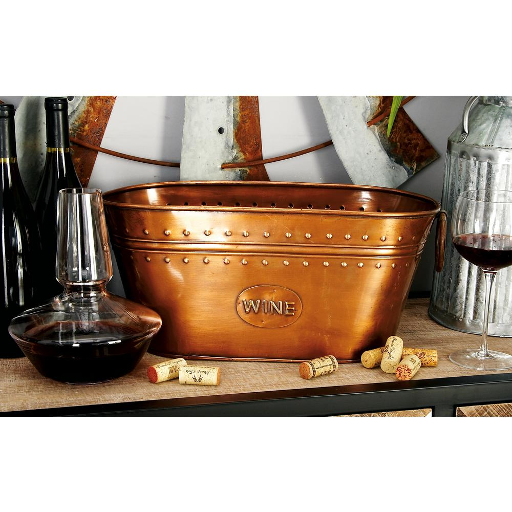 17 in. x 8 in. Oval Bucket Wine Cooler with Ring