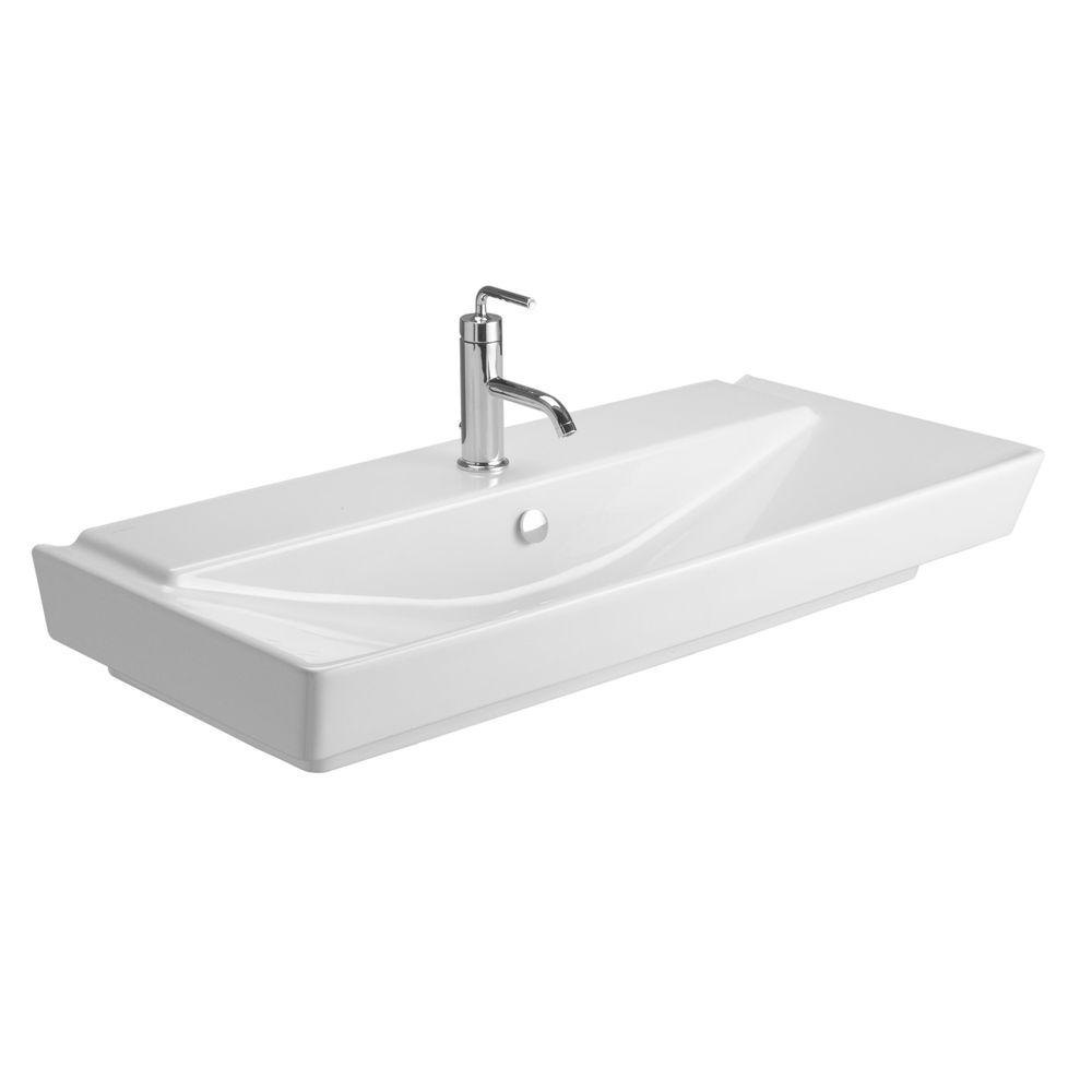 Kohler Reve Wall Mounted Ceramic Bathroom Sink In White With Overflow Drain