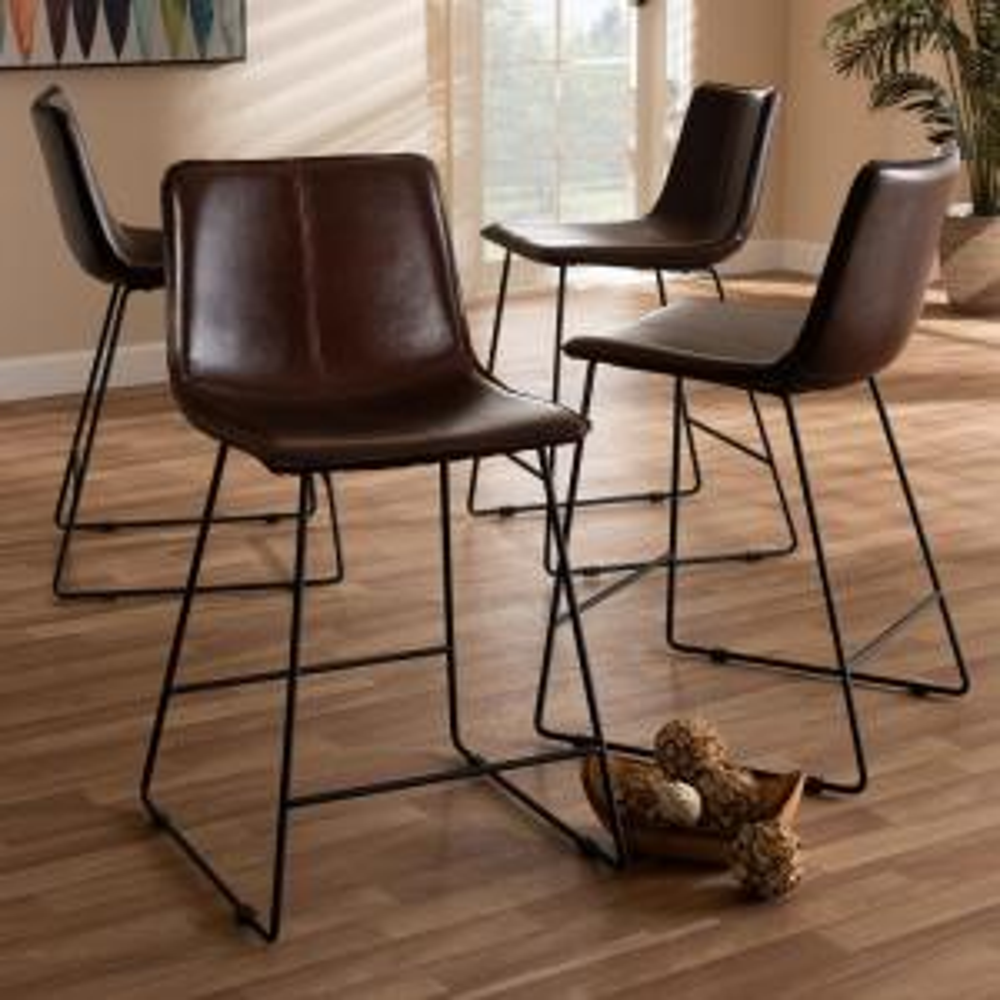 Astounding Baxton Studio Carvell 24 In Dark Brown And Black Pub Stool Ncnpc Chair Design For Home Ncnpcorg